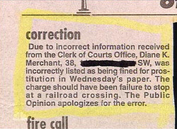 Newspaper Correction