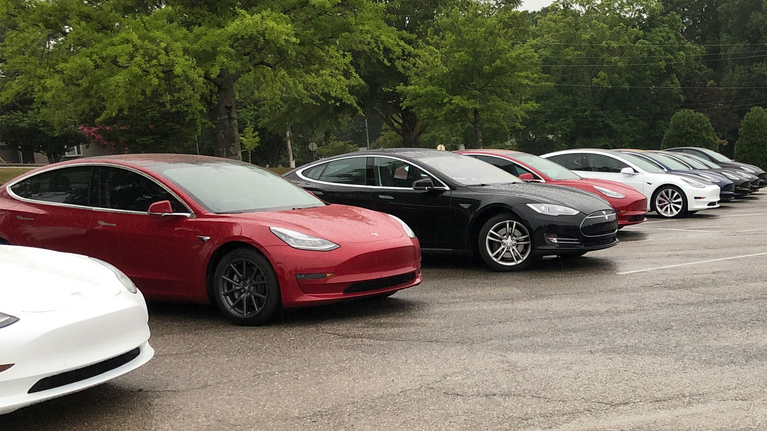 Teslas lined up at the new Knoxville Service Center for a photo shoot n Friday, July 30, 2021.