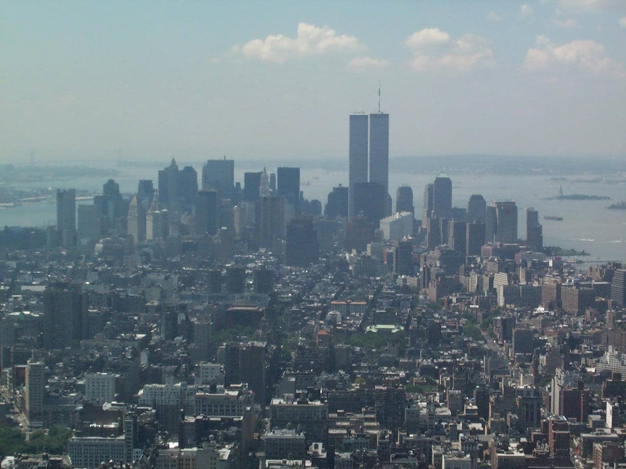 View of World Trade Center twin towers from the Empire State Building during the summer of 2001